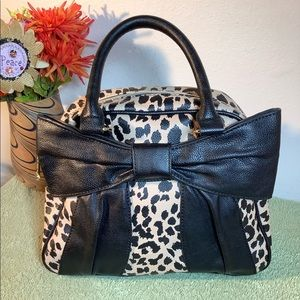Betsey Johnson Leopard Black Bow Hand Bag